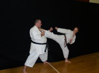 Shelley Greenough showing good form with Yoko Geri kekomi